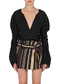 Saint Laurent Women's Ruched-Sleeve Blouse