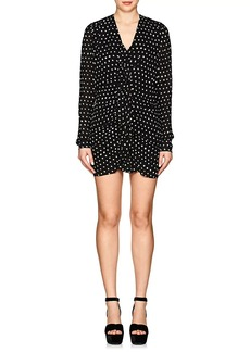 Saint Laurent Women's Ruffled-Front Dotted Crepe Dress