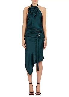 Saint Laurent Women's Satin Belted Halter Dress