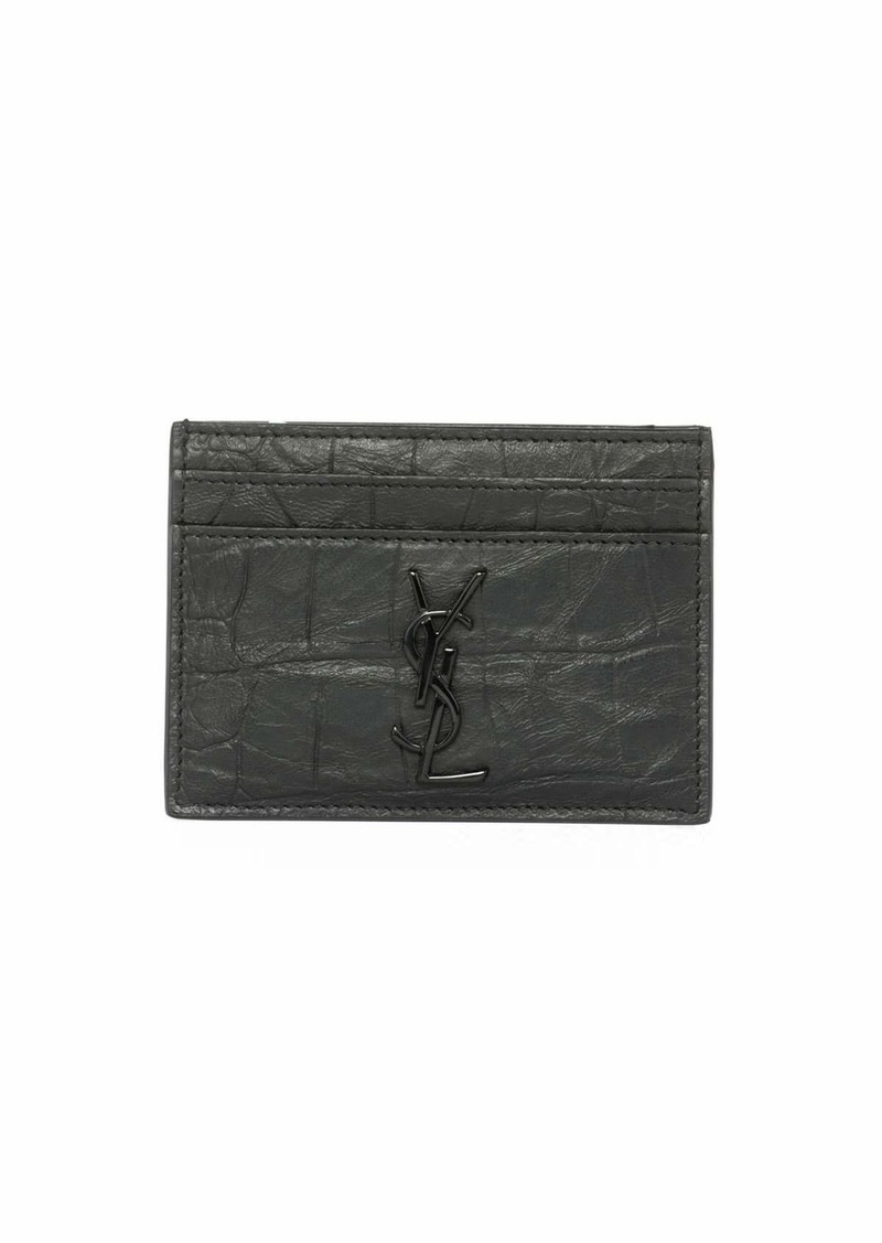 9af75704751 Yves Saint Laurent Saint Laurent YSL Monogram Croc-Embossed Leather ...