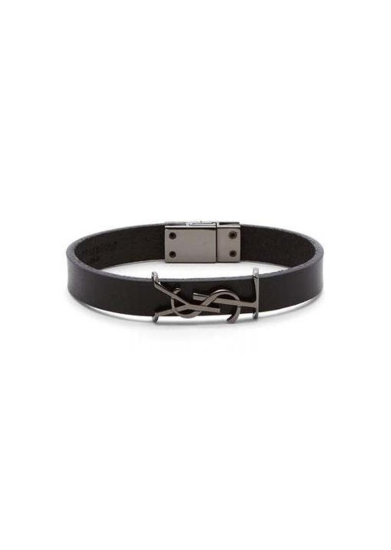 Yves Saint Laurent Saint Laurent YSL monogram-plaque leather bracelet