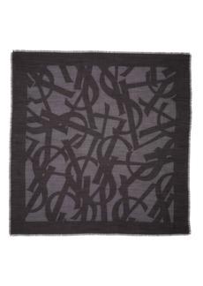 Saint Laurent YSL Random Square Silk & Wool Gauze Scarf