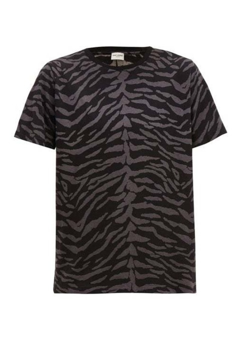 Yves Saint Laurent Saint Laurent Zebra-print cotton-jersey T-shirt