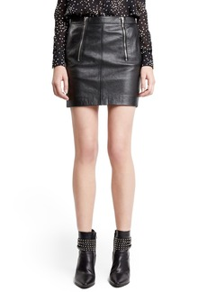 Yves Saint Laurent Saint Laurent Zip Detail Lambskin Leather Miniskirt