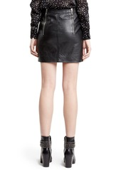 Yves Saint Laurent Saint Laurent Zip Detail Lambskin Leather Miniskirt