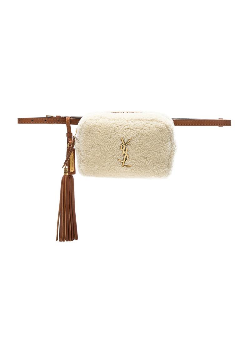cd7d44ed1 Saint Laurent Shearling Monogramme Lou Hip Belt with Pouch | Handbags