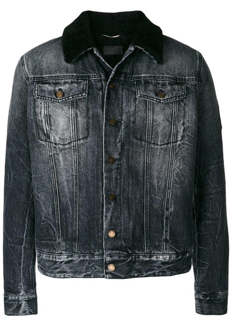 443fb5e295 sheepskin collar denim jacket