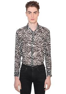 Yves Saint Laurent Sheer Tiger Print Wool Shirt