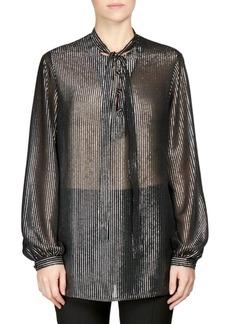 Saint Laurent Silk Metallic Stripe Tie-Neck Blouse