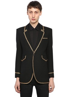 Yves Saint Laurent Single Breasted Wool Jacket W/ Piping