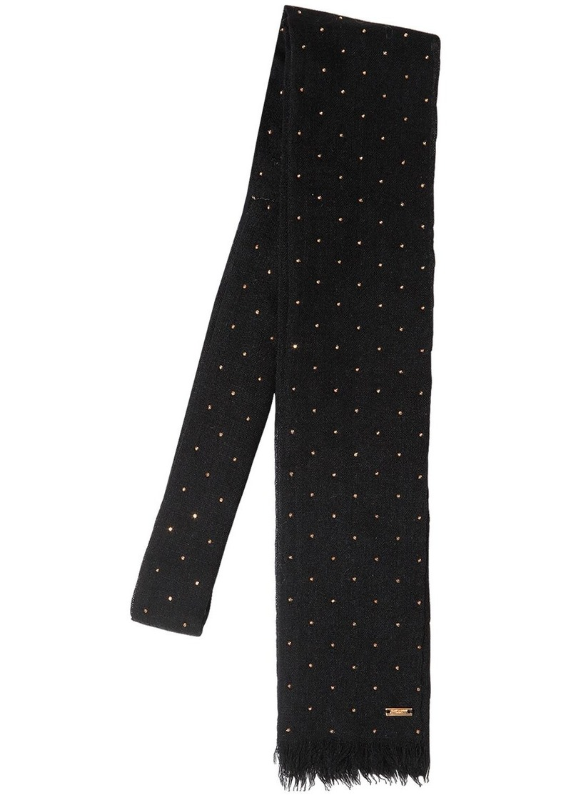 Yves Saint Laurent Small Studded Wool Tie