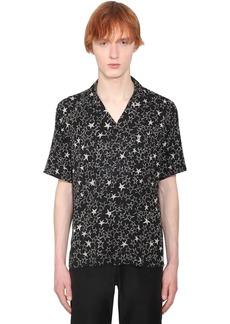 Yves Saint Laurent Star Print Short Sleeved Silk Shirt