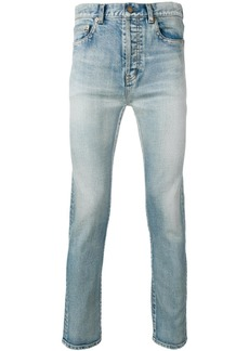 Yves Saint Laurent distressed straight-leg jeans