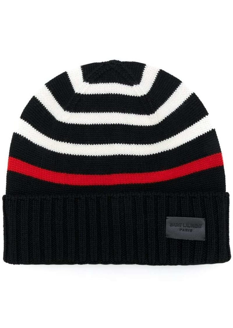 Yves Saint Laurent striped knitted beanie  7cbe25f2113