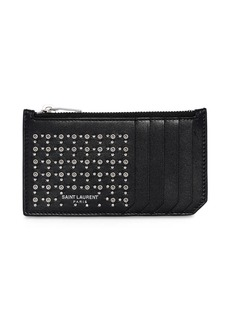 Yves Saint Laurent Studs & Eyelets Leather Zip Card Holder