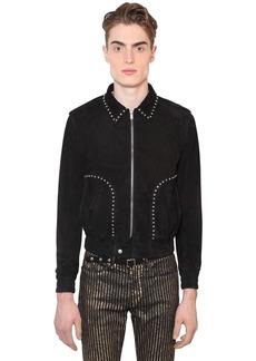 Yves Saint Laurent Suede Jacket W/ Flower Studs
