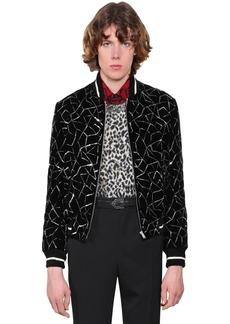 Yves Saint Laurent Teddy Embellished Velvet Bomber Jacket