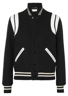 Yves Saint Laurent Teddy leather-trimmed wool-blend bomber jacket