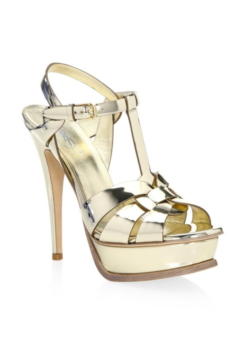 038655023c4 Saint Laurent Tribute Metallic Leather Platform Sandals | Shoes
