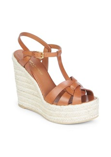 Yves Saint Laurent Tribute T-Strap Leather Wedge Sandals