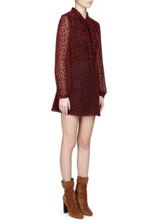 Saint Laurent Velvet Spot Tie Neck Dress