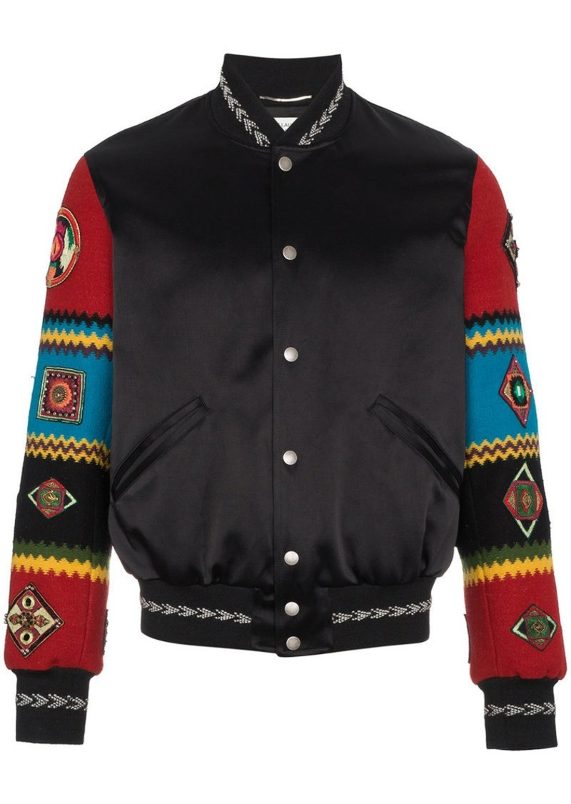 87bd95a7647 Yves Saint Laurent Wool varsity jacket with embroidered sleeves ...