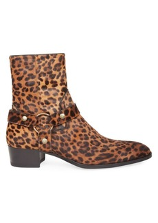 Yves Saint Laurent Wyatt Printed Suede Ankle Boots