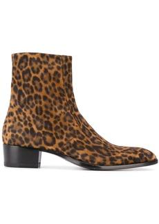 Yves Saint Laurent Wyatt leopard print 40mm boots