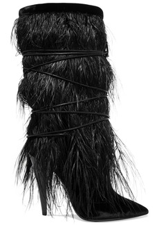 Saint Laurent Yeti Feather-trimmed Velvet Boots
