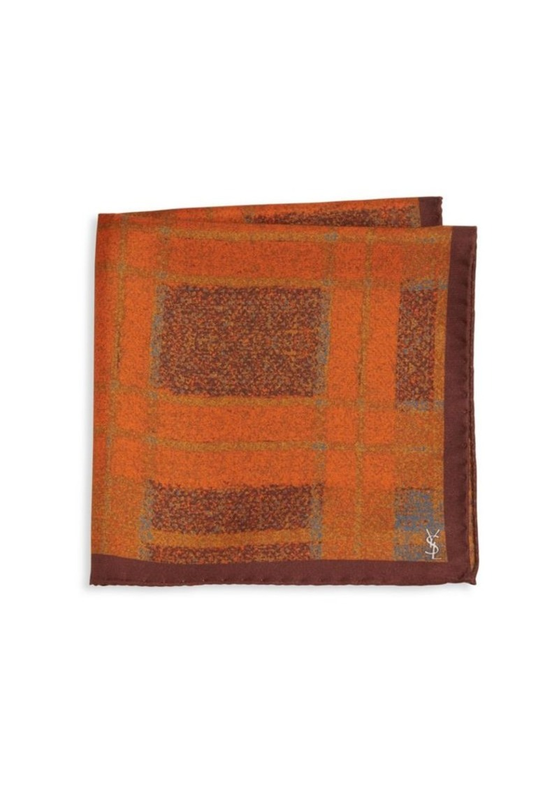 Yves Saint Laurent Check Silk Pocket Square