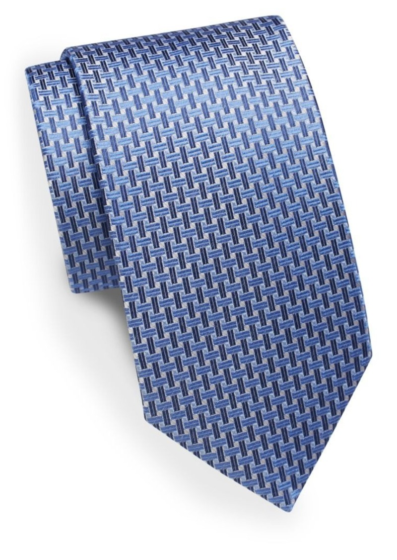 Yves Saint Laurent Crosshatch-Print Silk Tie