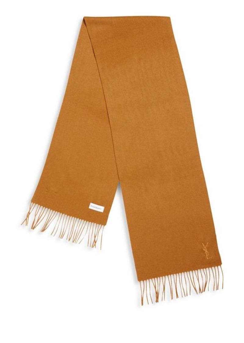 Yves Saint Laurent Fringed Wool Blend Scarf