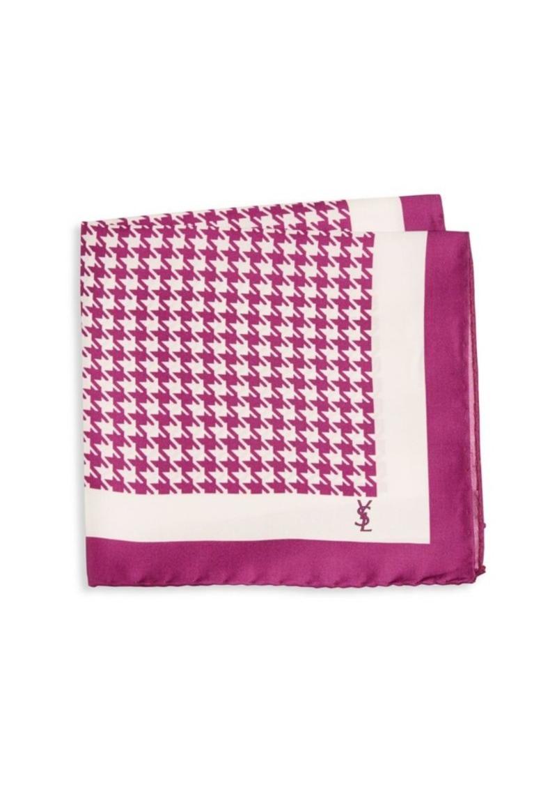 Yves Saint Laurent Houndstooth Silk Pocket Square