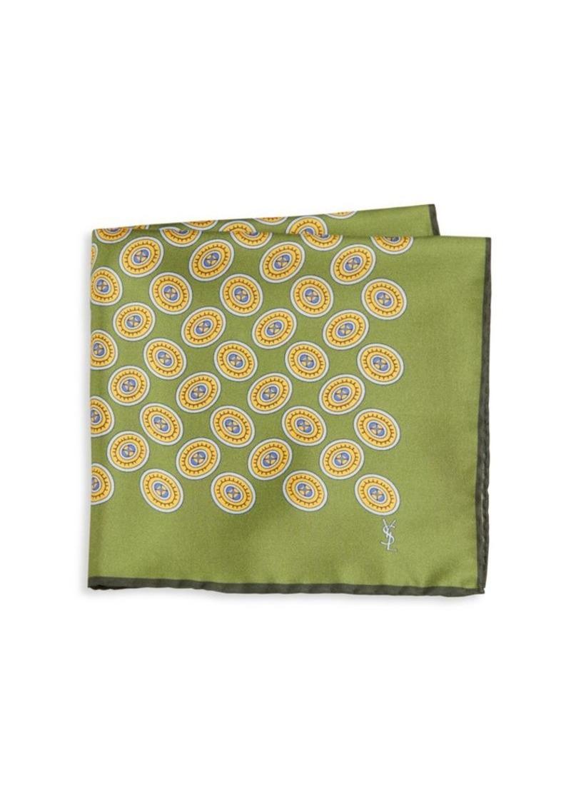 Yves Saint Laurent Medallion Silk Pocket Square
