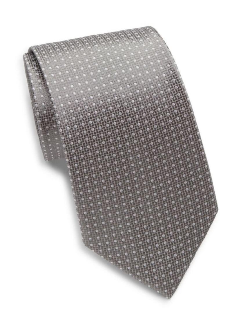 Yves Saint Laurent Square Grid Silk Tie