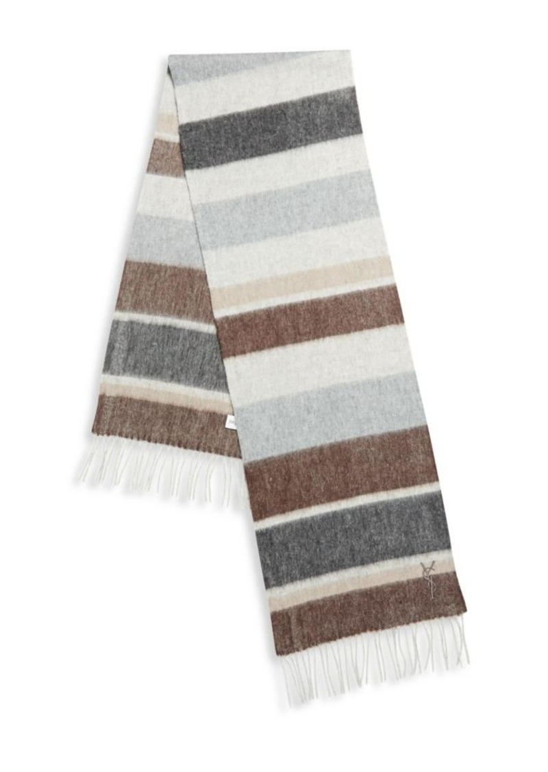 Yves Saint Laurent Striped Wool Scarf