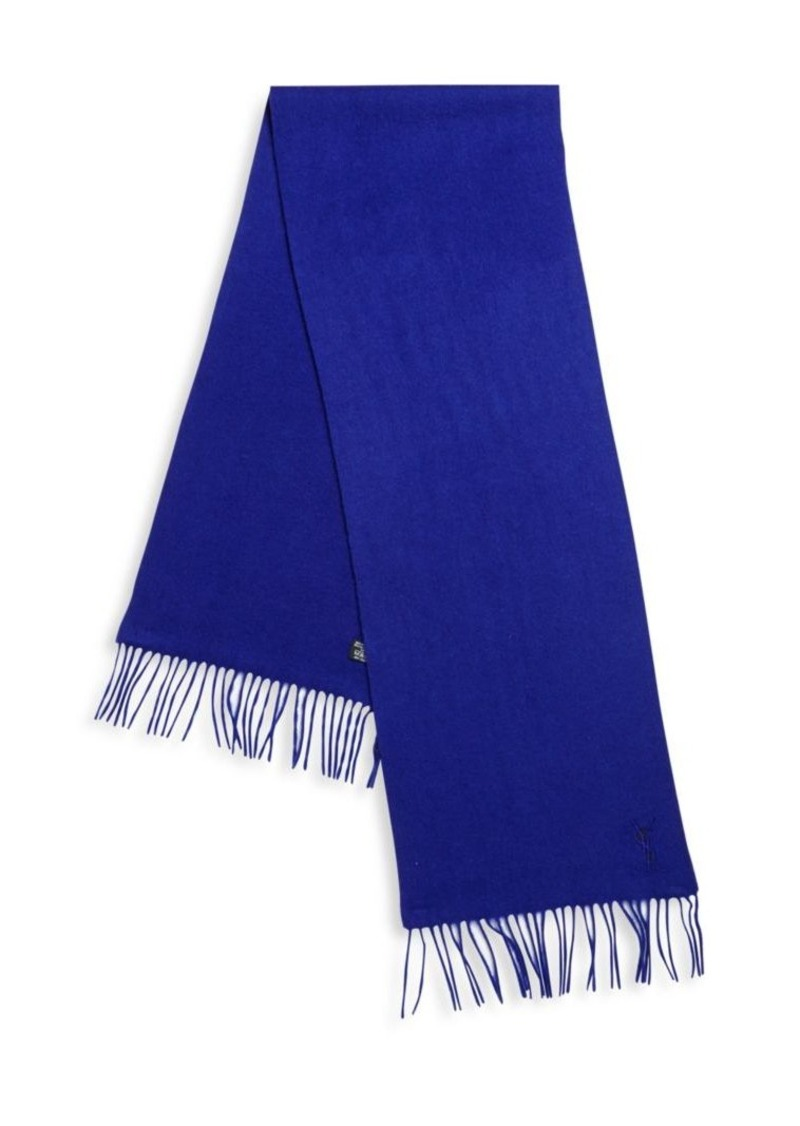 Yves Saint Laurent Wool and Cashmere Fringe Trim Scarf