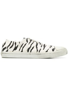 Yves Saint Laurent zebra print distressed detail sneakers