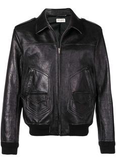 Yves Saint Laurent zipped leather jacket