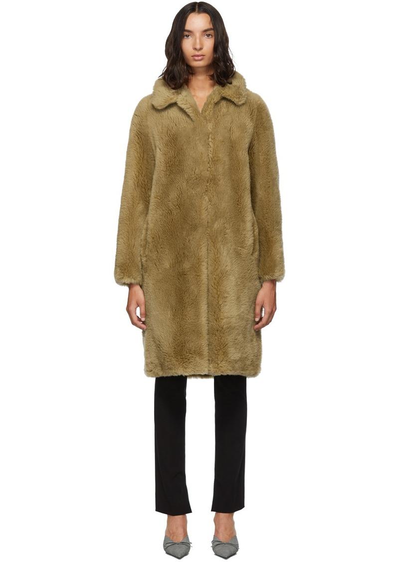 Yves Salomon Beige Woven Wool Coat