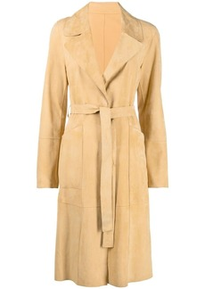 Yves Salomon belted suede trench coat
