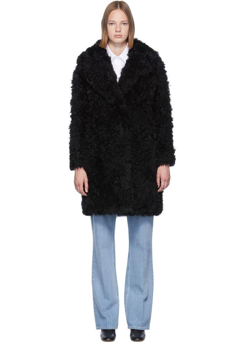 Yves Salomon Black Curly Shearling Coat