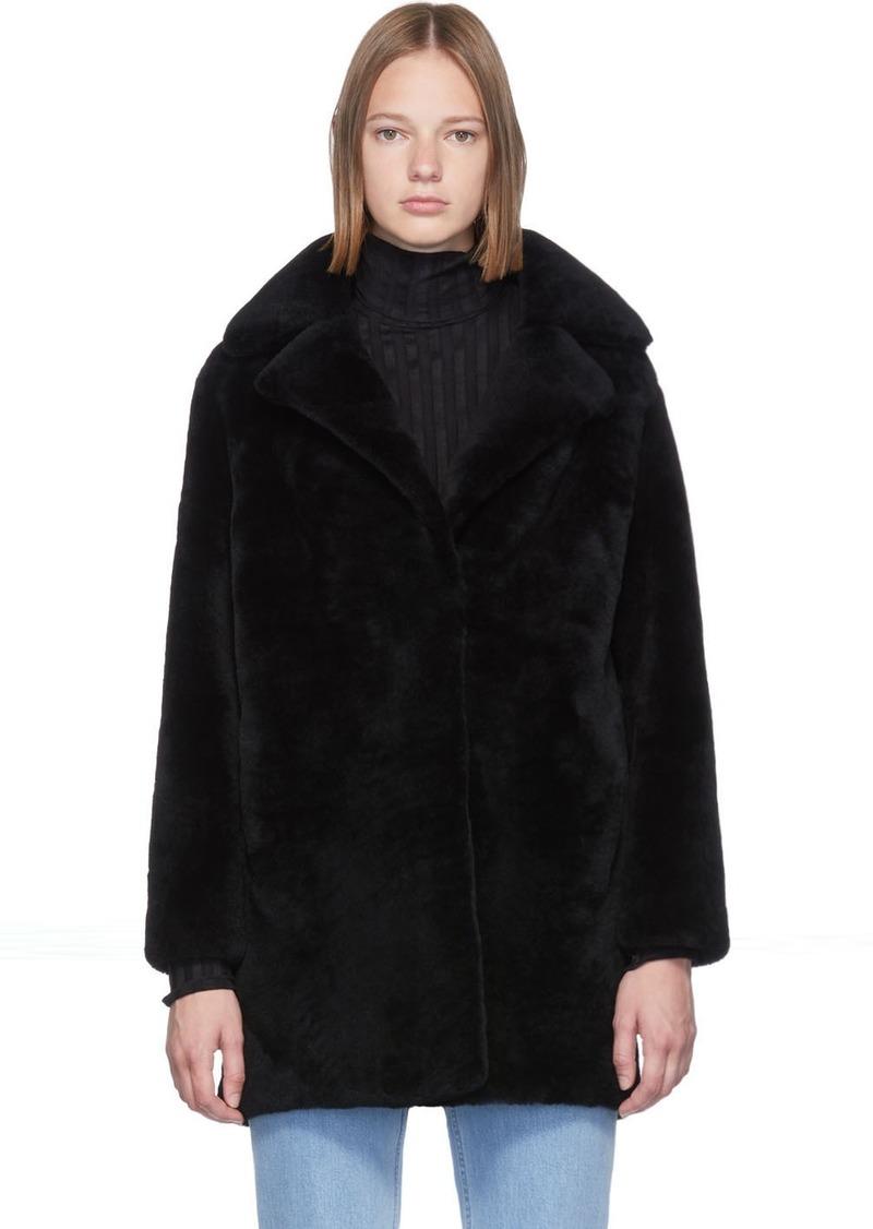 Yves Salomon Black Curly Wool Coat