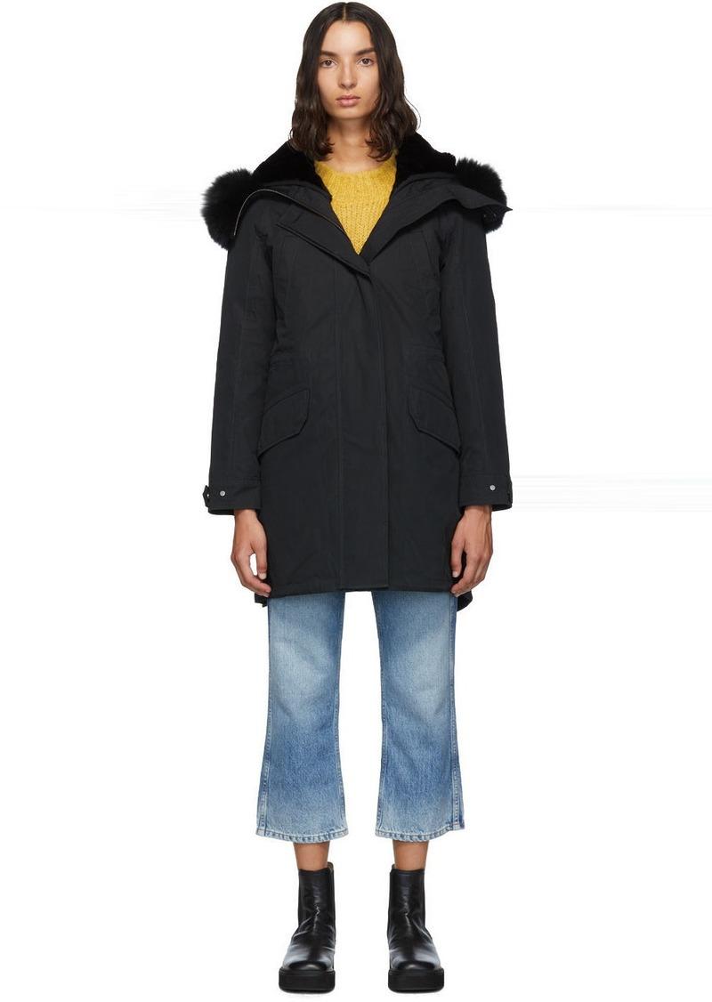 Yves Salomon Black Down & Fur Bachette Parka