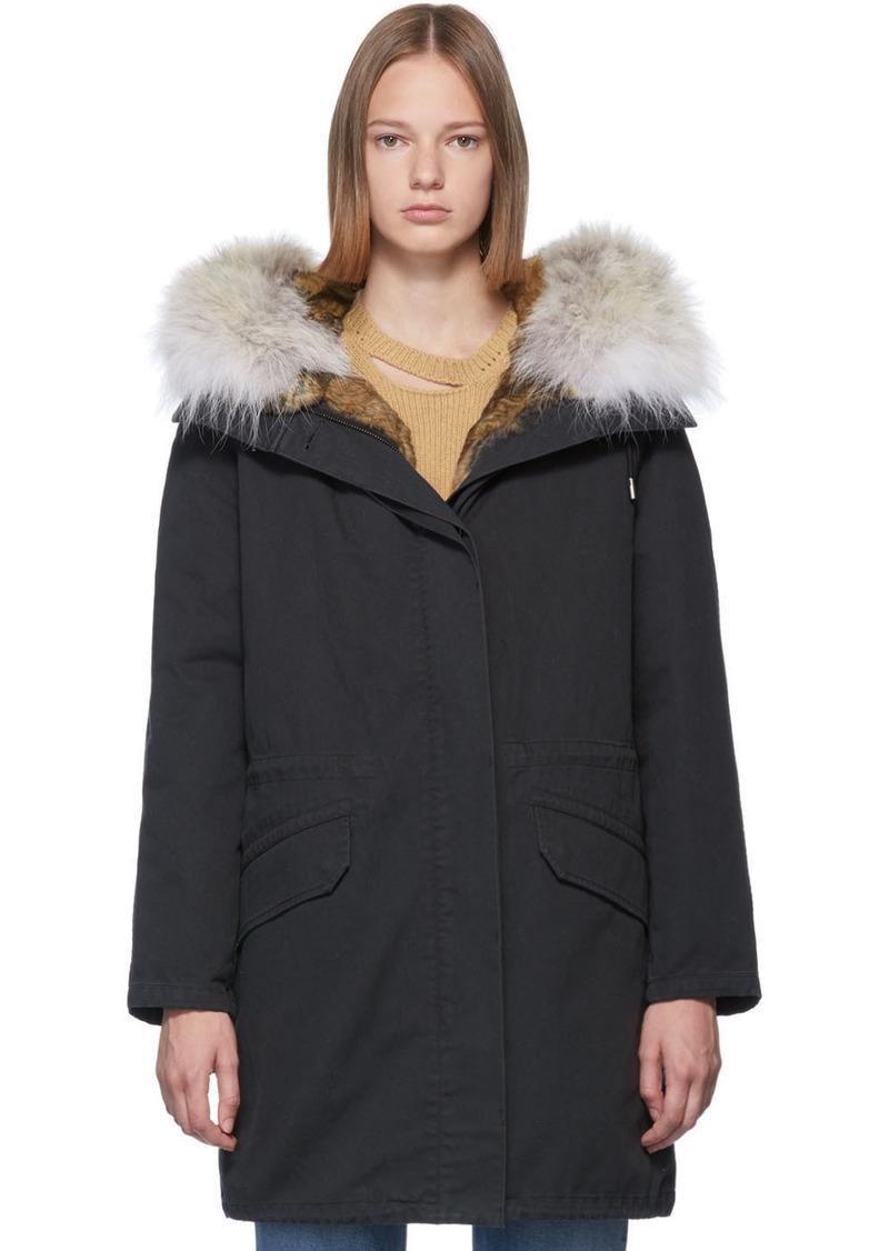 Yves Salomon Black Down & Fur Cotton Parka