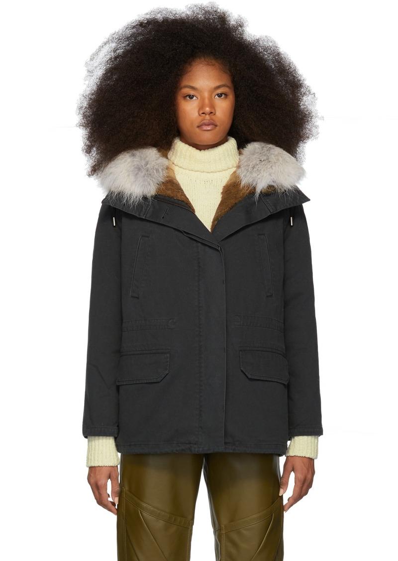 Yves Salomon Black Down & Fur Cotton Short Parka