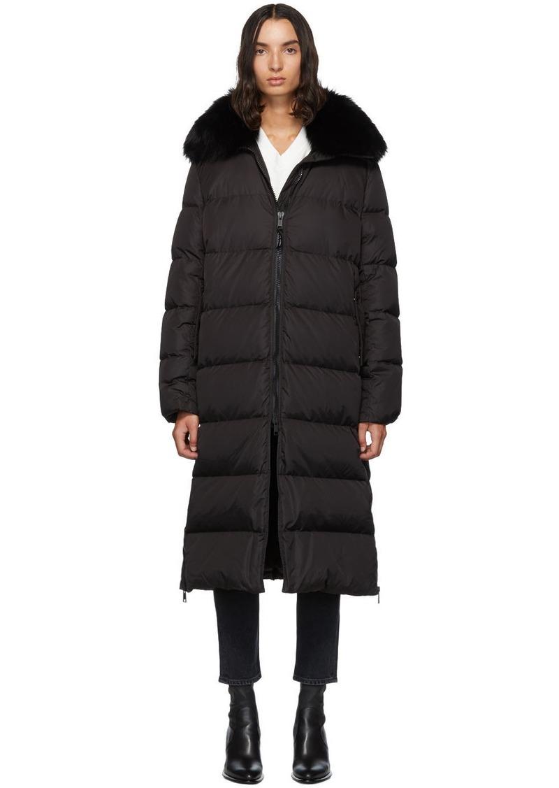 Yves Salomon Black Down & Fur Technical Doudoune Jacket