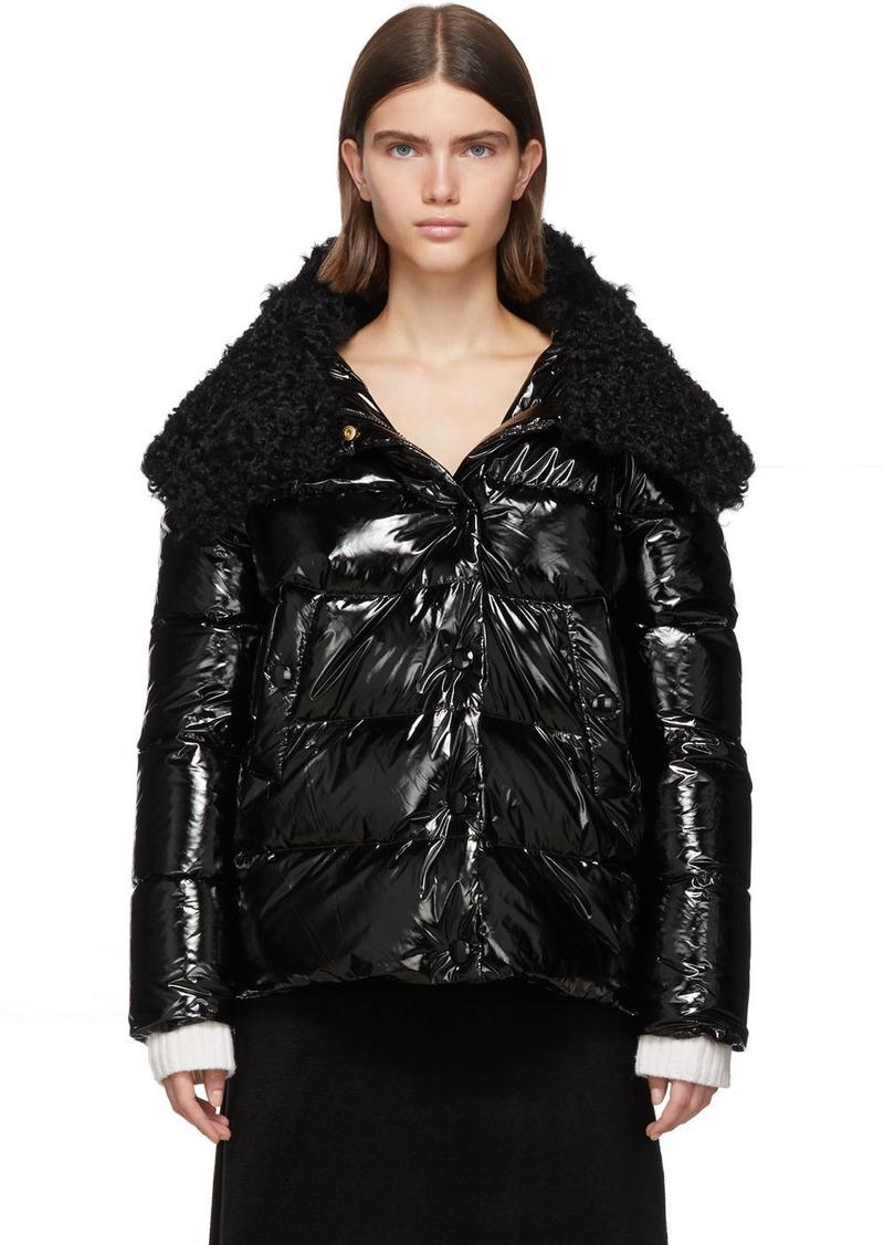 Yves Salomon Black Down & Wool Fur Jacket