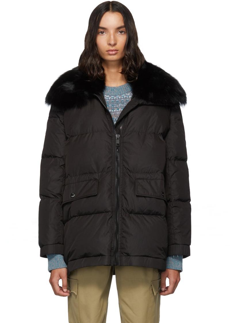 Yves Salomon Black Down Fur Collar Coat