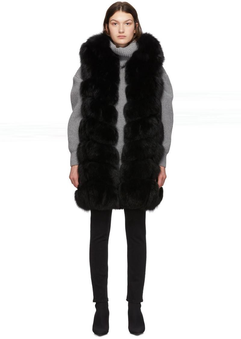 Yves Salomon Black Fox Fur Long Vest